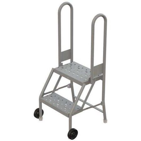 Tri-Arc Perforated Tilt and Roll Ladder, Gray - Roll Ladder