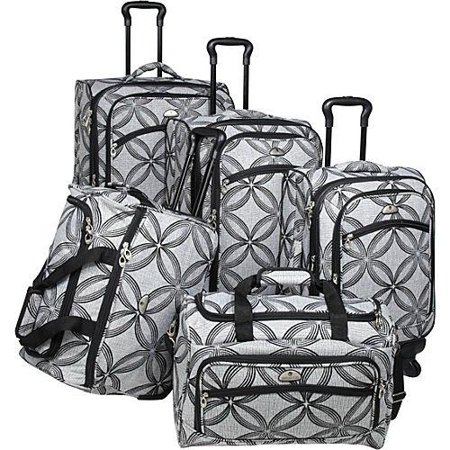 (American Flyer Silver Clover 5-Piece Spinner Luggage Set)