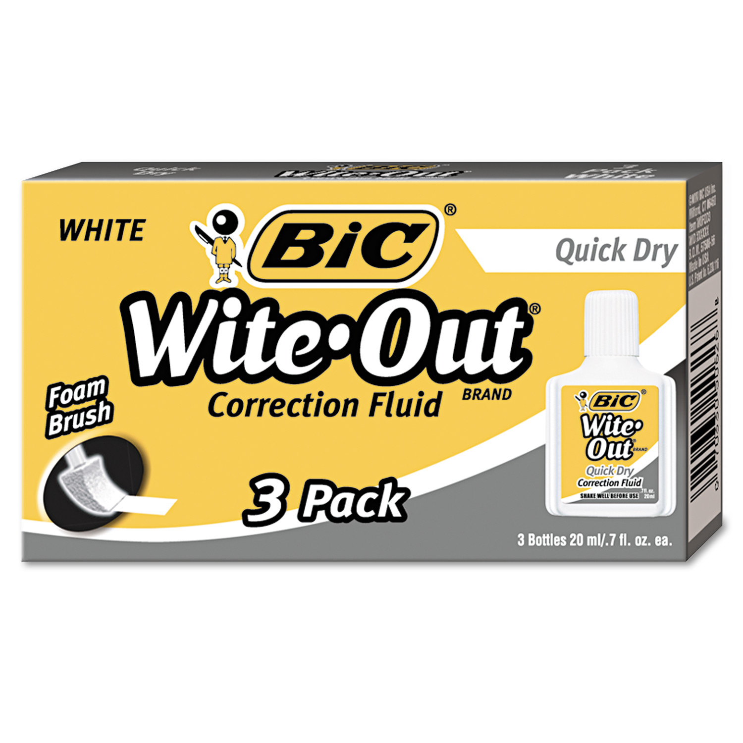 Bic Wite-Out Quick Dry Correction Fluid, 20ml Bottle, White, 3-Count