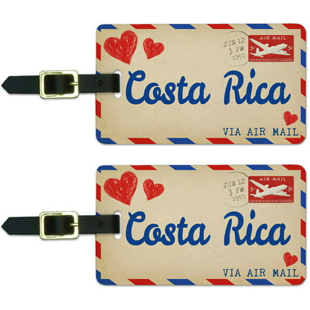 Air Mail Postcard Love for Costa Rica Luggage Suitcase Carry-On ID Tags, Set of 2 ()