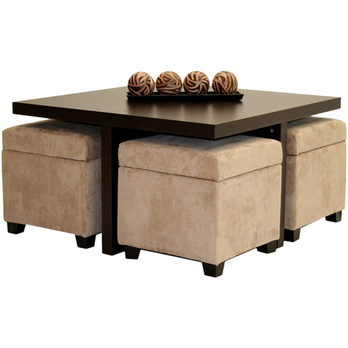 Club Coffee Table with 4 Storage Ottomans, Chocolate and Beige