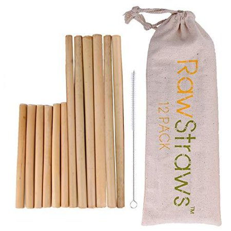 Reusable Bamboo Straws Biodegradable Drinking – 12 Pack with Sizes 8.5 inch and 5.1 inch Eco-Friendly Storage Pouch and Cleaning Brush (Bamboo Drinking Straws)
