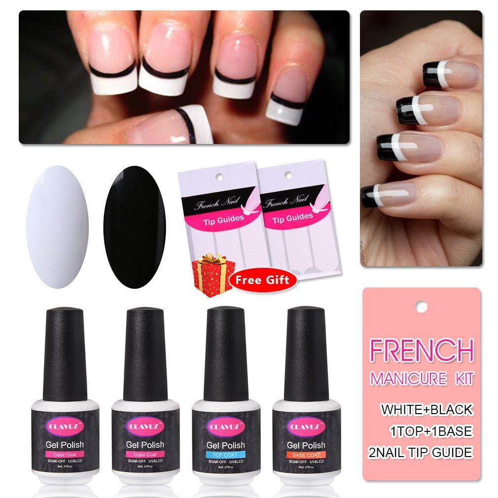 French Manicure Nail Gel Polish Top and Base Coat White Black DIY Nail Art at Home Free Nail Sticker by CLAVUZ