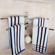 4 Bar Wall Mounted Towel Rail Rack Holder  360° Swivel Bathroom With Hook Silver