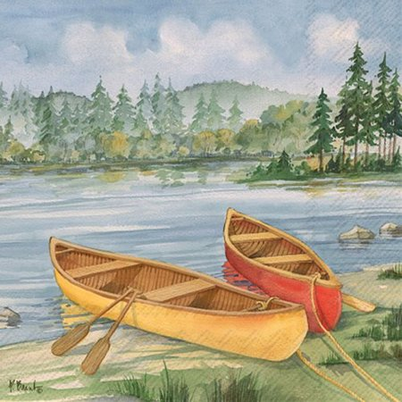 4 PACKS PAPER LUNCH NAPKINS/Log Cabin Canoe 4 Packs Paper Lunch Napkins/Log Cabin Canoe