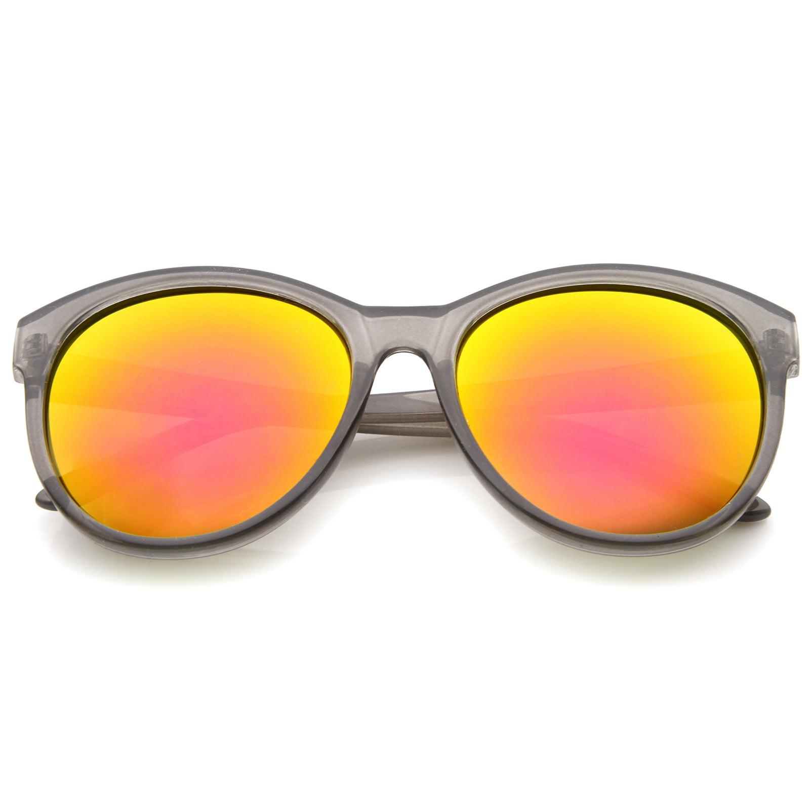 7187d06b11e27 sunglassLA - sunglassLA - Women s Horn Rimmed Color Mirror Lens Oversized  Cat Eye Sunglasses - 58mm - Walmart.com