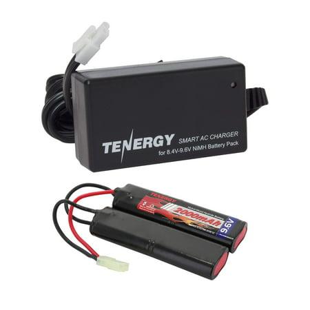 Tenergy 9.6V Airsoft Battery 2000mAh NiMH Nunchuck Battery w/Mini Tamiya Connector for Airsoft Gun + 8.4V-9.6V NiMH Battery Charger w/Mini Tamiya Connector and Standard Tamiya Adaptor