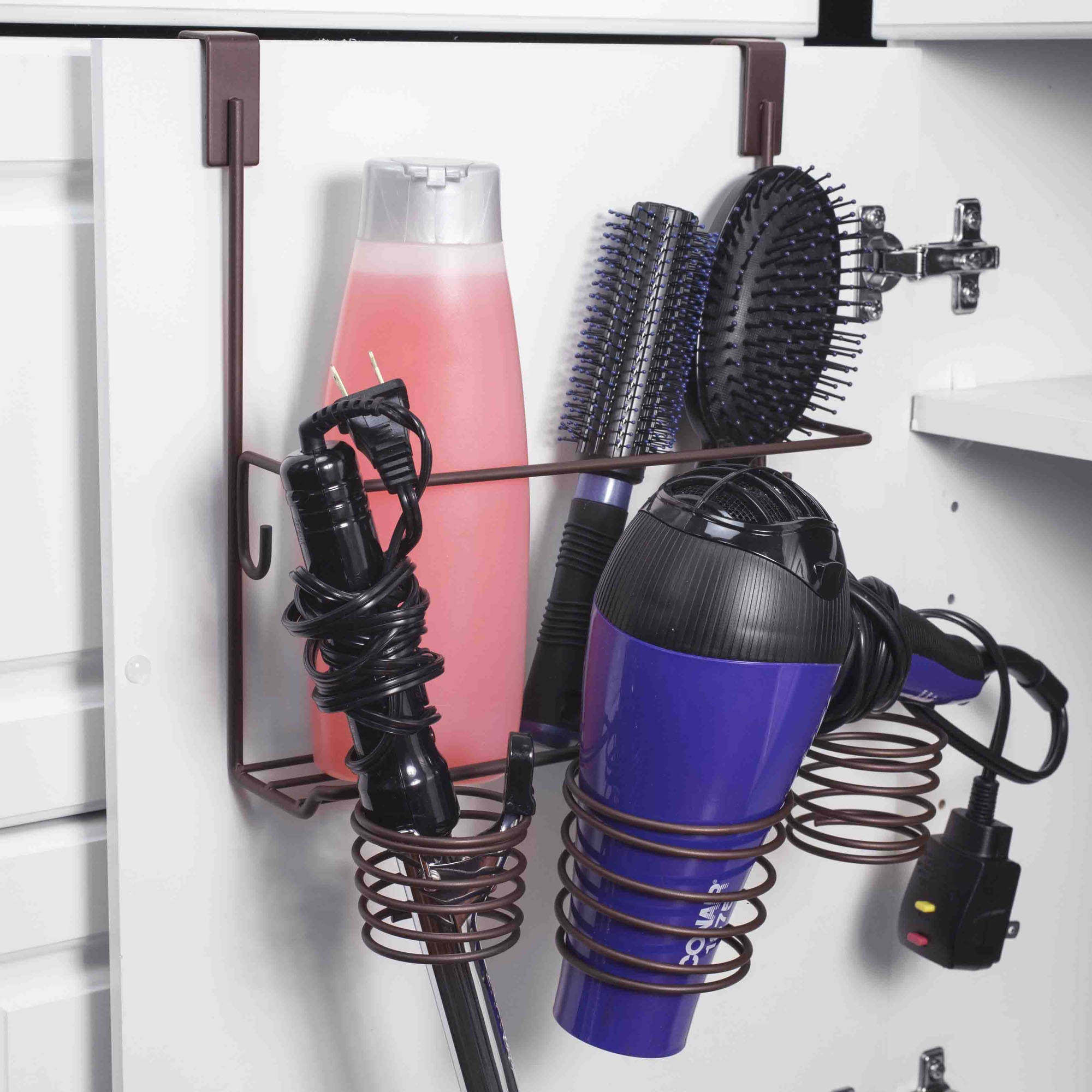 Home Basics Over-the-Cabinet Bronze Hairdryer Holder