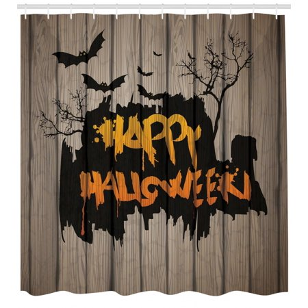 Halloween Shower Curtain Happy Graffiti Style Lettering On Rustic Wooden Fence Scary Evil Holiday Artwork Fabric Bathroom Set With Hooks Multicolor
