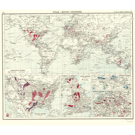 Coal World Map.Old World Map Global Coal Production Newnes 1907 23 X 26 86