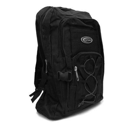 19 Inch Black Multi Purpose School Book Bag / Travel Carry On Backpack Bag -