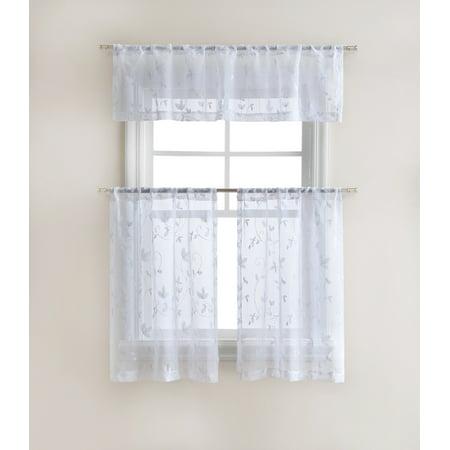 Cassandra Floral Embroidered Semi Sheer Kitchen Curtain Tier & Valance Set - White