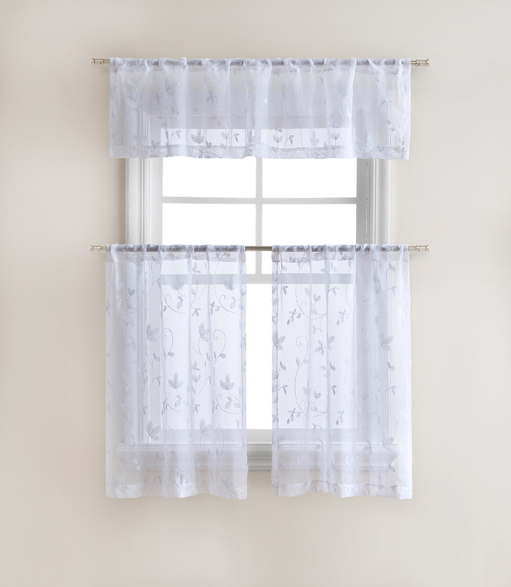 Cassandra Floral Embroidered Semi Sheer Kitchen Curtain Tier U0026 Valance Set    White