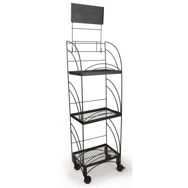 14 5 W Wire Shelving Unit With Locking Wheels 3 Display Levels Retail Store Fixture Includes Removable Sign Holder Black Ncyrr10bk Walmart Com Walmart Com