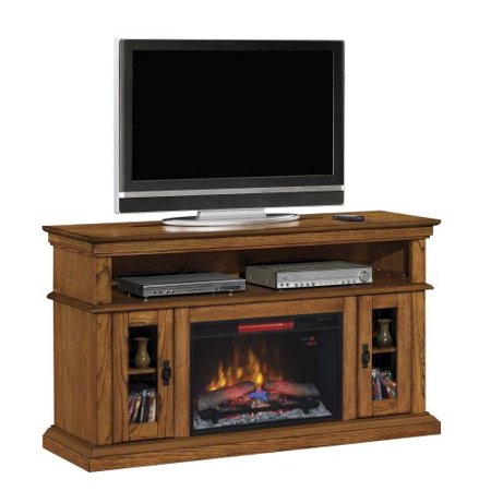 Brookfield TV Stand w/ 26″ Contemporary Elec. Fireplace, Premium Oak