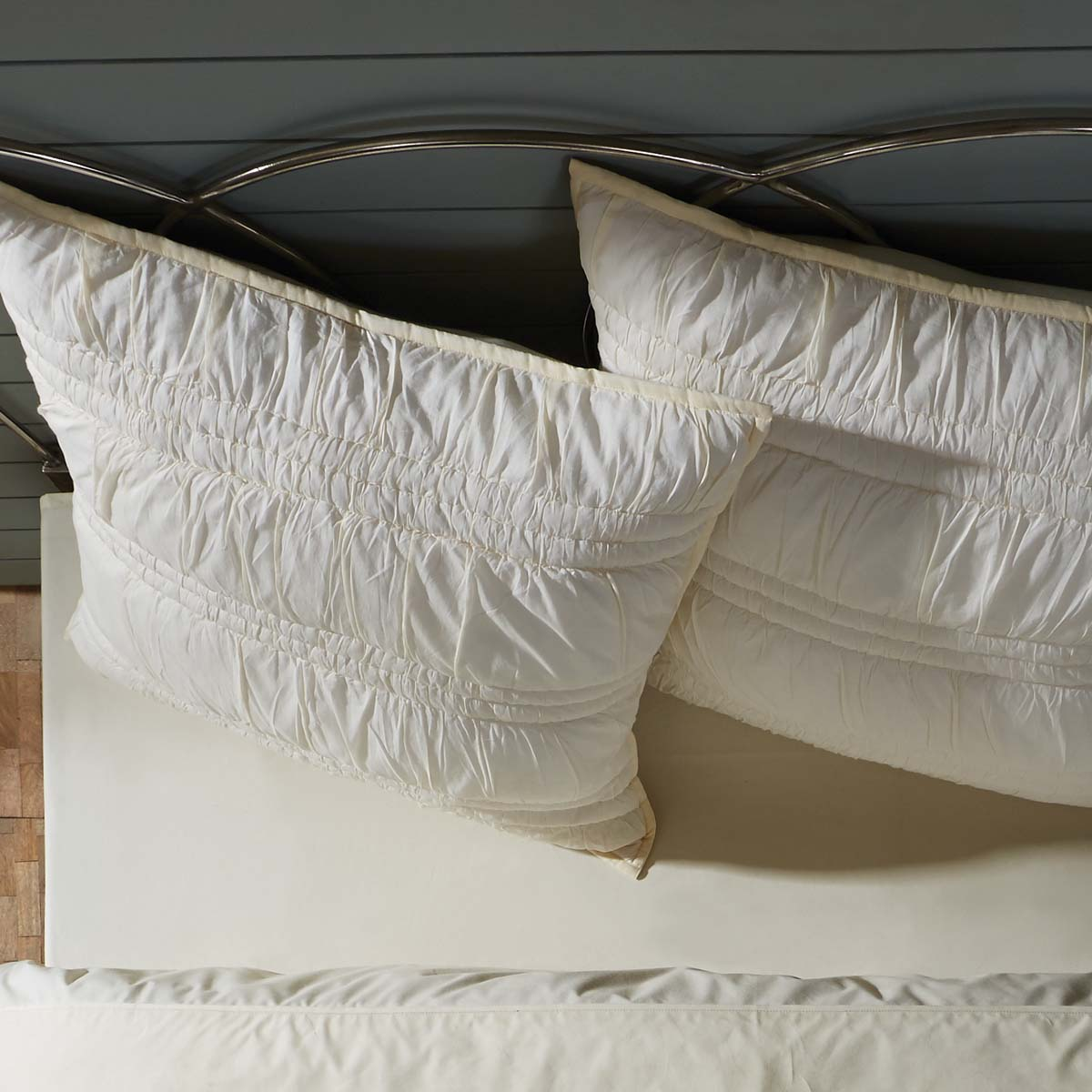 Vanilla Creme Pearl White Farmhouse Bedding Natasha Cotton Hand Quilted Ruched Ruffle Voile Solid Color Euro Sham
