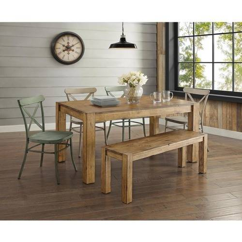 Better Homes and Gardens Bryant 6-Piece Dining Set, Vintage White & Teal Metal Chair