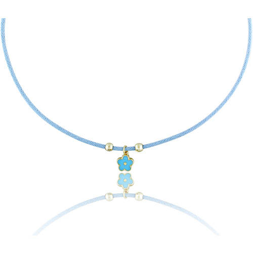 """Cutie Pie 18kt Gold over Sterling Silver Girls' Blue Enamel Flower Charm Necklace, 13.5"""" with 1.5"""" Extender"""