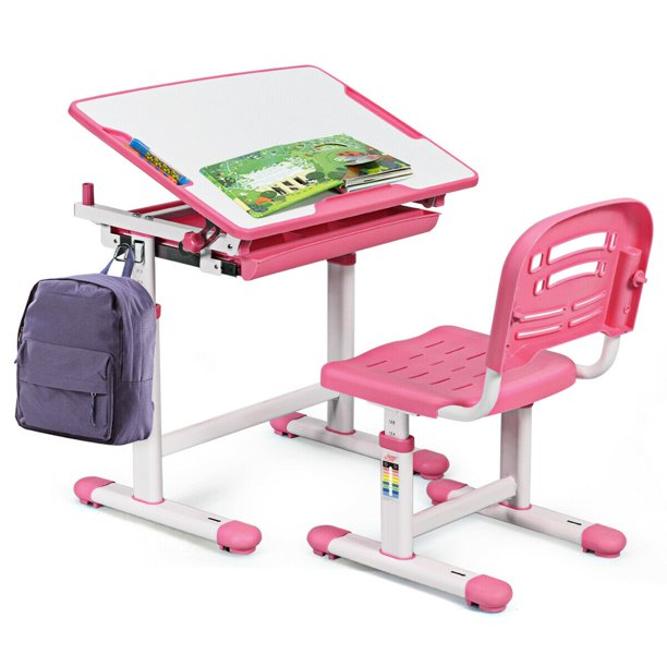 Gymax Height Adjustable Children's Desk Chair Set Multifunctional