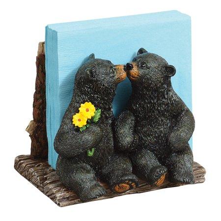 Kissing Black Bears Napkin Holder - Cabin  Kitchen Decor