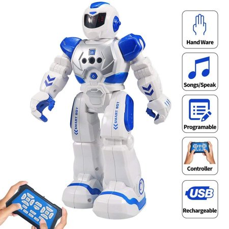 HBUDS RC Robot for Kids Intelligent Programmable Robot with Infrared Controller Toys, Dancing, Singing, Led Eyes, Gesture Sensing Robot Kit, Blue