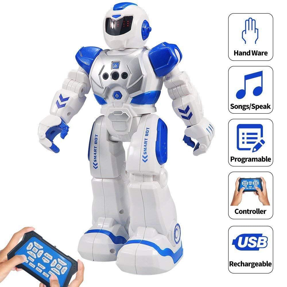 HBUDS RC Robot for Kids Intelligent Programmable Robot with Infrared Controller Toys, Dancing, Singing, Led Eyes, Gesture Sensing Robot Kit, Blue