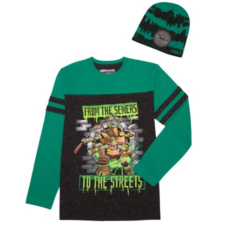 Boys' Sewer Crew Long Sleeve Football Beanie Combo (Tmnt Outfits)