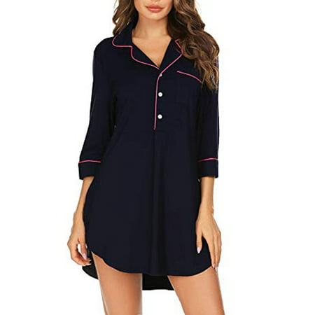 LELINTA Nightgown Women V Neck Nightshirt Boyfriend Sleep Shirt 3/4 Sleeve Button Sleepwear, Black/ Grey/Navy Blue S-XXL