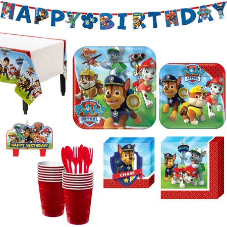 Birthday Paper Kit - Paw Patrol Party Kit, Includes Happy Birthday Banner and Candles, Serves 16