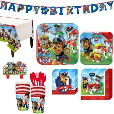 Paw Patrol Party Kit, Includes Happy Birthday Banner and Candles, Serves 16](Party City Banner)