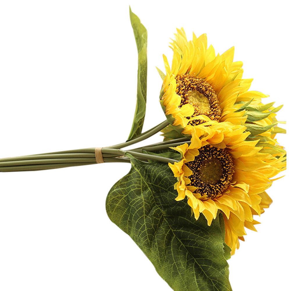 10X Heads Fake Silk Artificial Sunflower Bouquet Floral Garden Home wedding