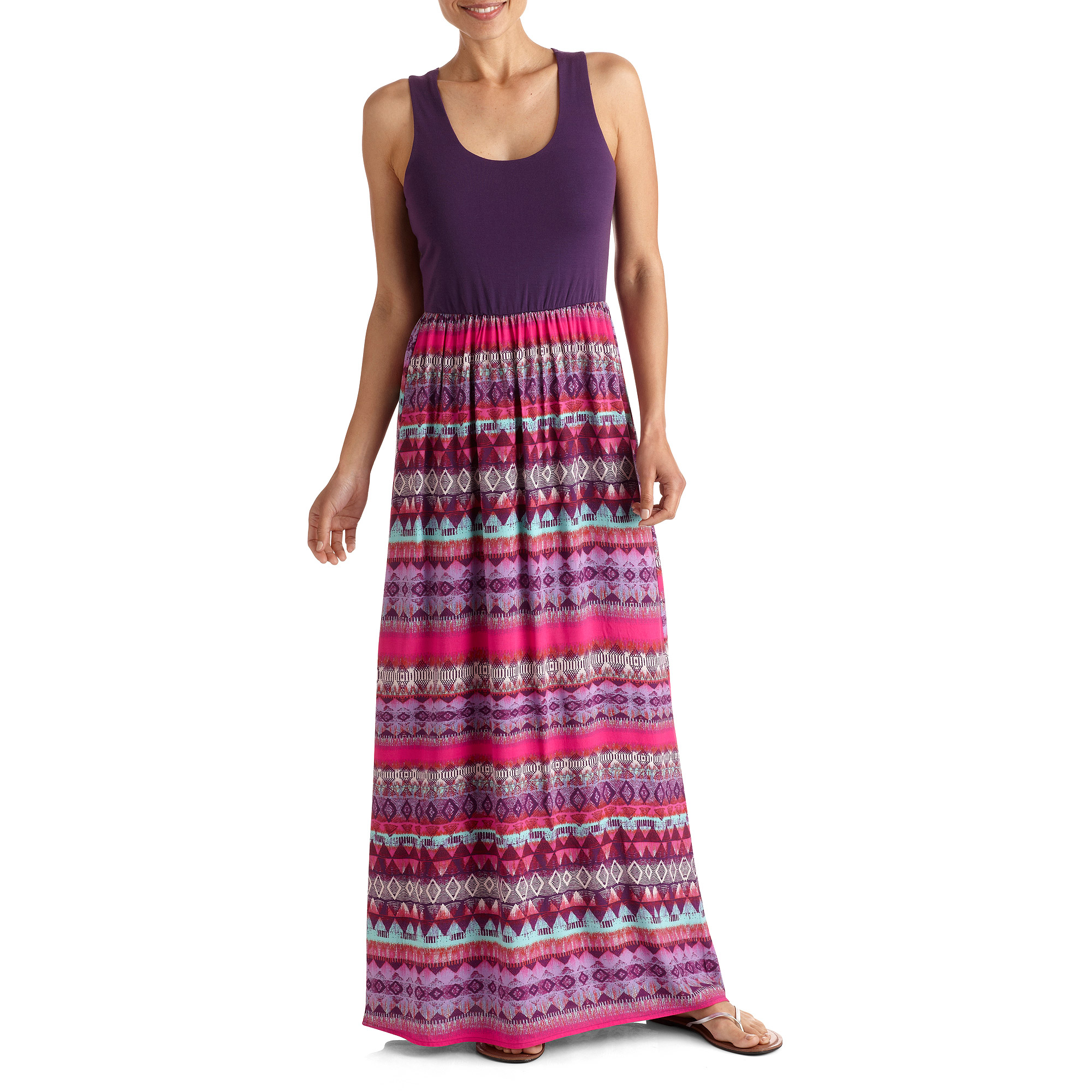 Faded Glory Women's Knit Bottom and Woven Top Maxi Dress