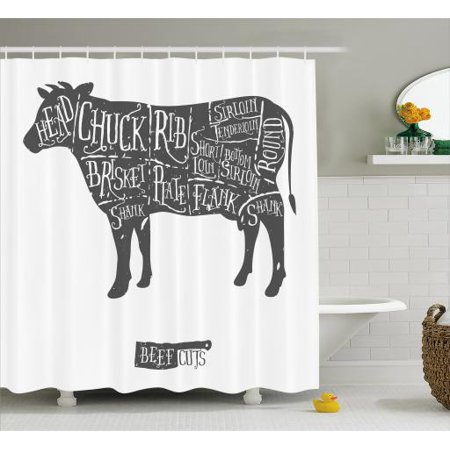 Cattle Shower Curtain Vintage Hand Drawn Butcher Cuts Of Beef Scheme Silhouette For Barbecue