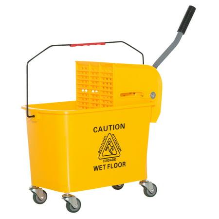 Wringer System - HOMCOM 5 Gallon Janitor Mop Bucket w/ Down Press Wringer