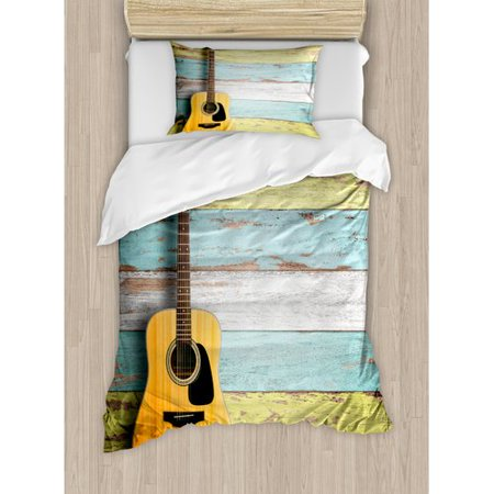 Ambesonne Music Acoustic Guitar Painted Aged Wooden Planks Rustic Country Decor Duvet Cover Set ()