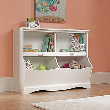 Sauder Pogo Kids Bookshelf with Storage Bin, White