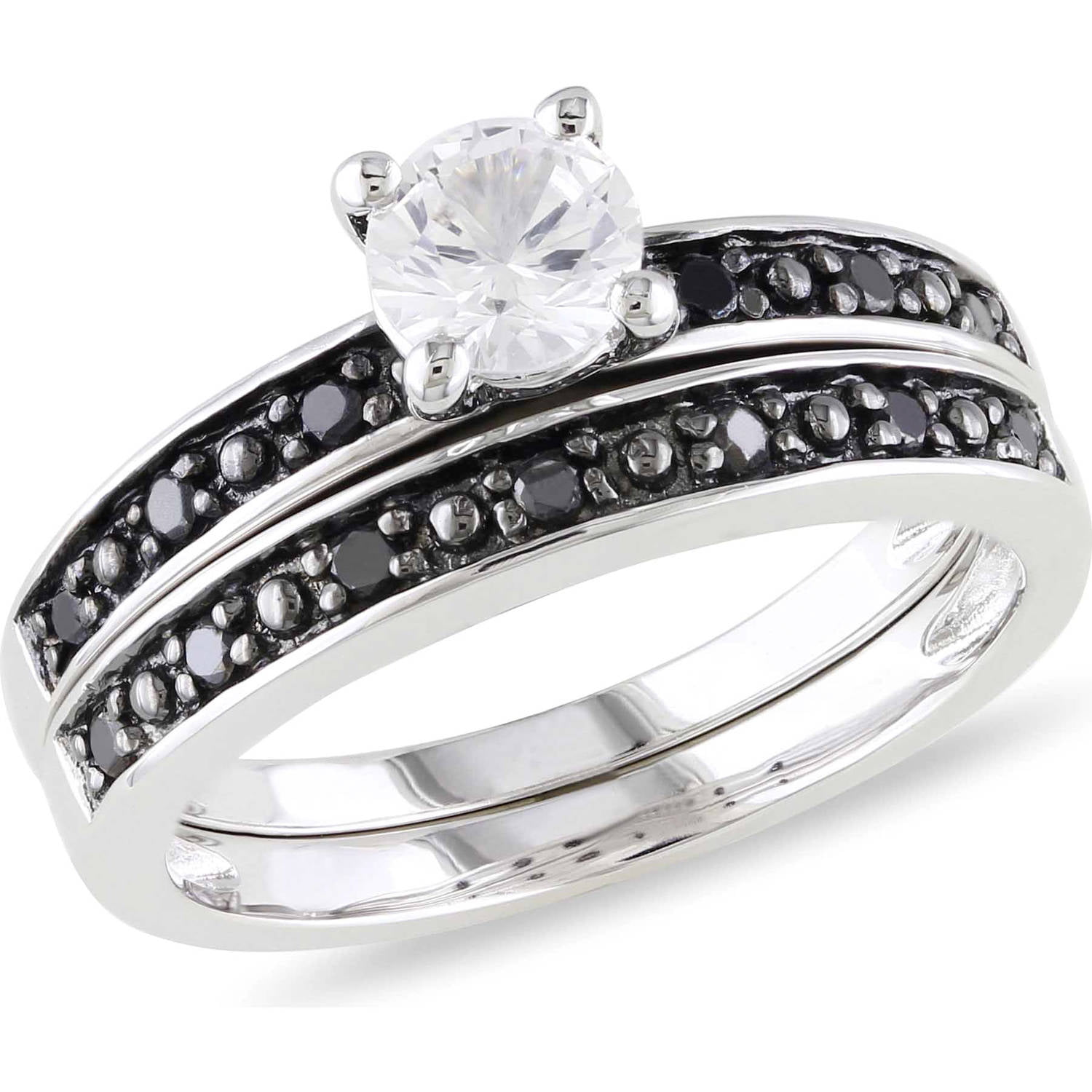 Asteria 5 8 Carat T.G.W. Created White Sapphire and 1 5 Carat T.W. Black Diamond Sterling Silver Bridal Set by