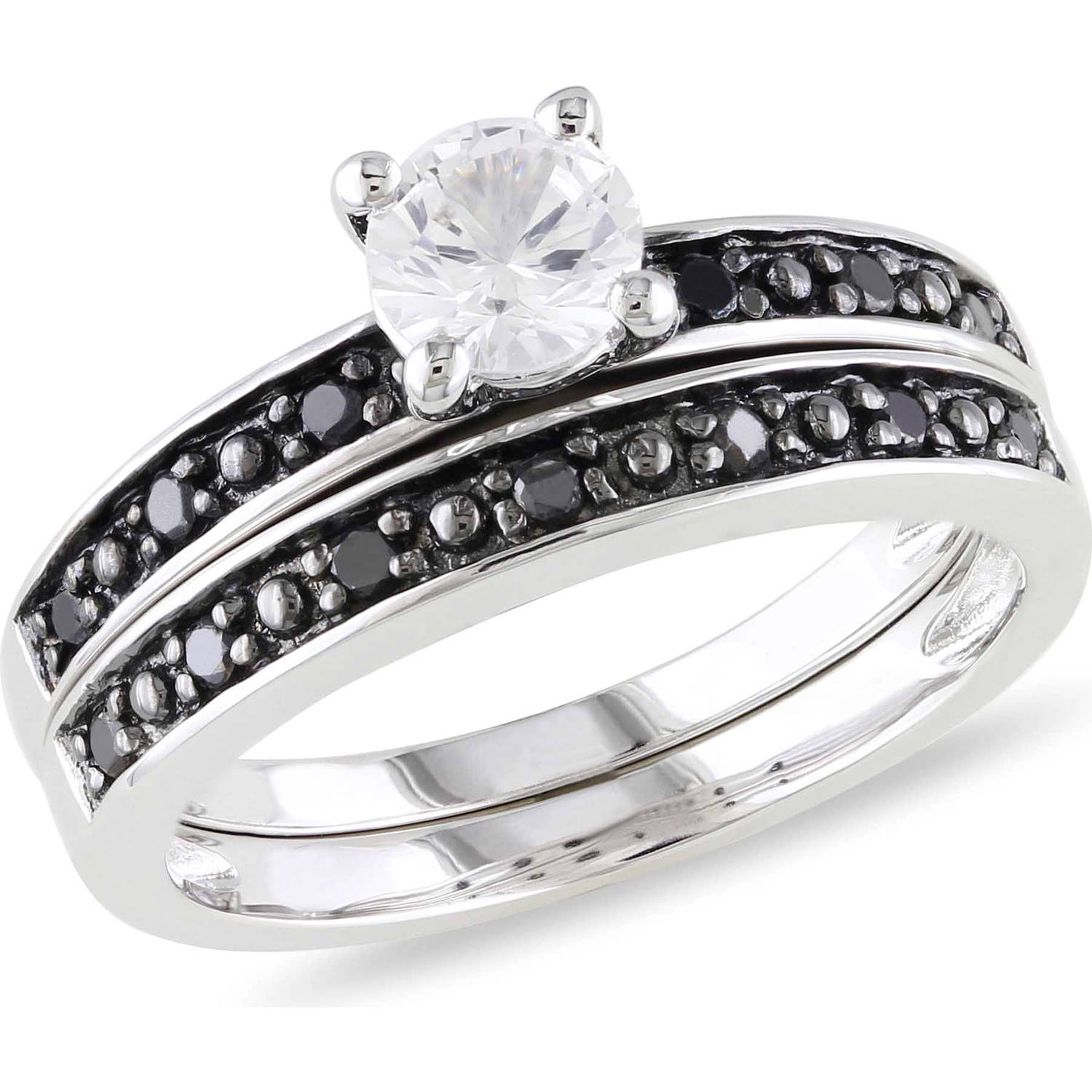 5/8 Carat T.G.W. Created White Sapphire and 1/5 Carat T.W. Black Diamond Sterling Silver Bridal Set