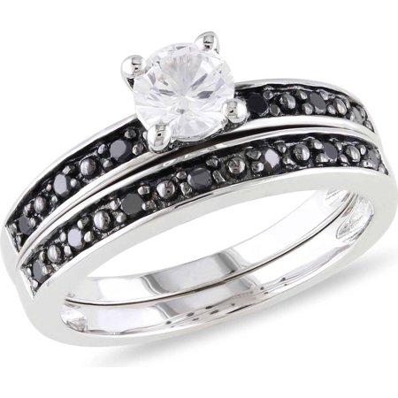 5 8 Carat T G W  Created White Sapphire And 1 5 Carat T W  Black Diamond Sterling Silver Bridal Set