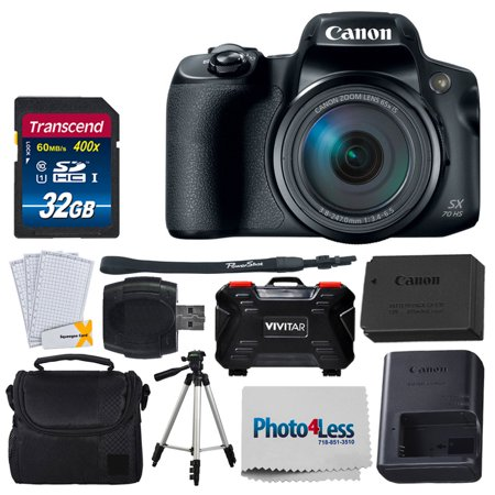 "Canon PowerShot SX70 HS Digital Camera + Transcend 32GB SDHC Memory Card Premium Class 10 + Camera/Video Case (Black) + 60"" Camera Video Tripod + Memory Card Hardcase (24 Card Slots) + USB Card Reader"