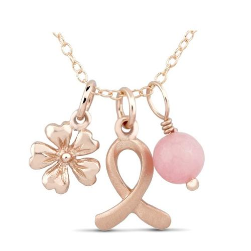 Beverly Hills Silver Rose Goldtone Sterling Silver Breast Cancer Ribbon, Flower and Pink Bead Charm Necklace