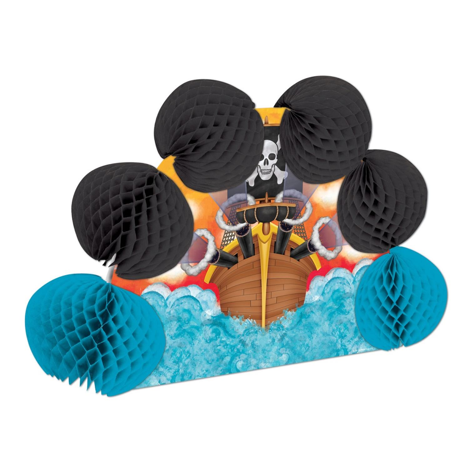 """Club Pack of 12 Pirate Pop-Over Honeycomb Centerpiece Party Decorations 10"""""""