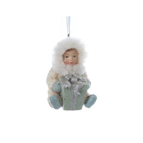 "3.25"" Silent Luxury Vintage-Style Sitting Snow Baby with Gift Christmas Ornament"