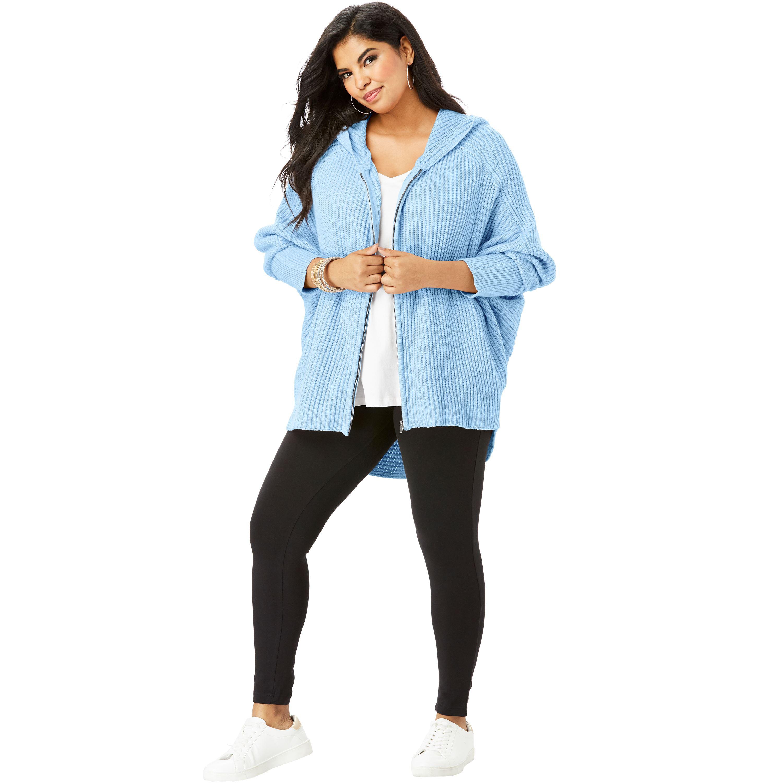 638ec66dbdd Roaman s - Plus Size Hoodie Cardigan With Dolman Sleeves - Walmart.com