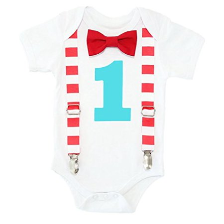 Noah's Boytique Circus First Birthday Outfit Carnival Theme Red Aqua Stripes Clothes Cake Smash 12-18 Months (Carnival Themed Cake)