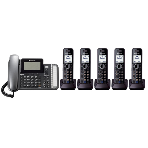 Panasonic KX-TG9585B DECT 6.0 2-Line Operation 6 Handset Phone System Digital Answering System by Panasonic
