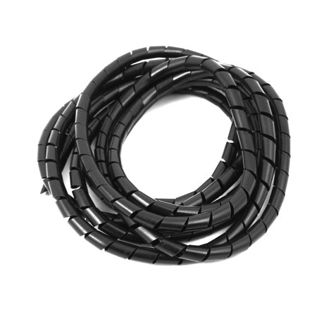 8mm flexible spiral tube cable wire wrap computer manage cord black 3 meter