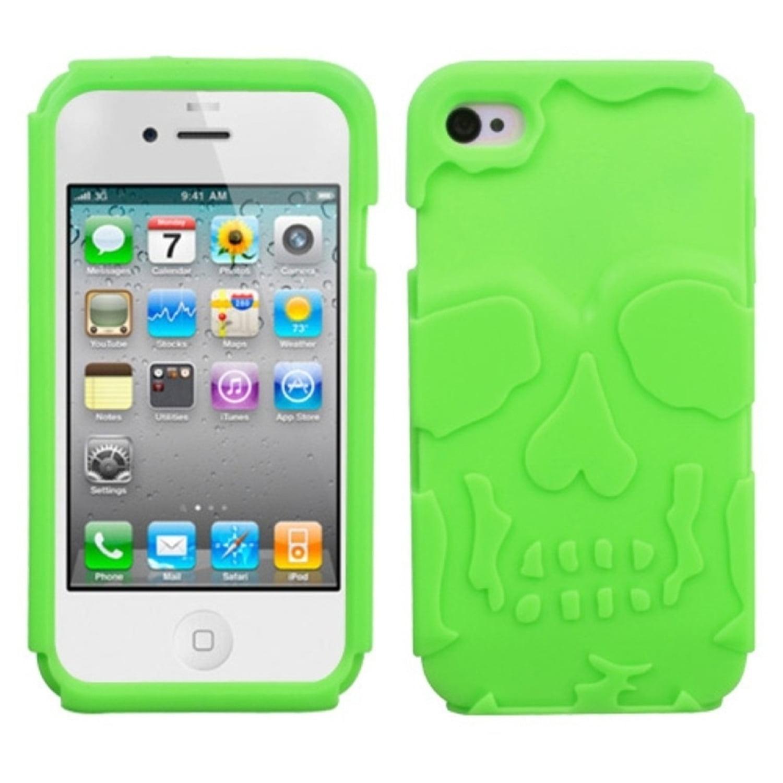 Insten Electric Green Skullcap Base Hybrid Rugged Hard Shockproof Case For iPhone 4/4S