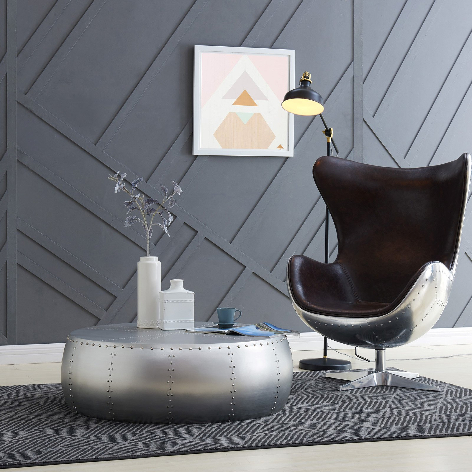 New Pacific Direct Inc. Nada 37 in. Hammered Aluminum Coffee Table