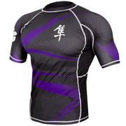 Hayabusa Metaru 47 Silver Short Sleeve Rashguard - Black/Purple